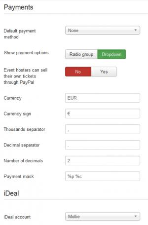 Settings - Payments