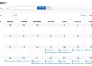 Events calendar view