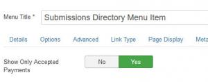 RSForm!Pro Submissions Directory menu item > Payment options tab