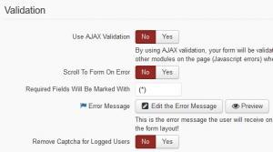 RSForm!Pro form info validation