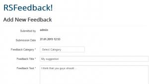 Add Feedback - Frontend view