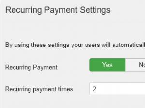 Recurring payment settings