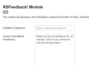 RSFeedback! Module Settings