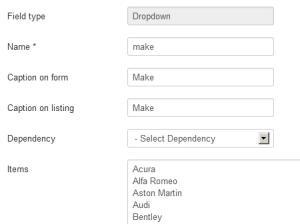 Dropdown dependencies - make