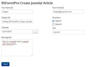 Create Article form