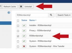 Select RSMembership! and click Uninstall