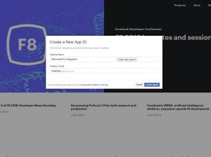 Facebook Developers Console - Create new app ID