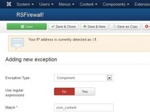 Creating an exception for com_content