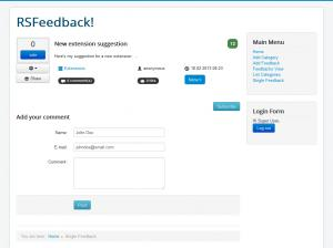 Single Feedback - Frontend view