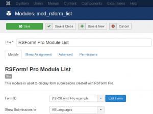 Module's Configuration options