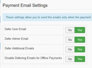 Payment Email Settings