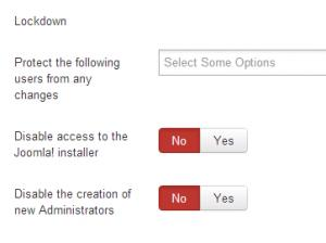 Lockdown available options