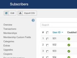 Subscribers tab general listing