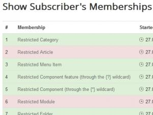 The Show Subscriber's Memberships menu item