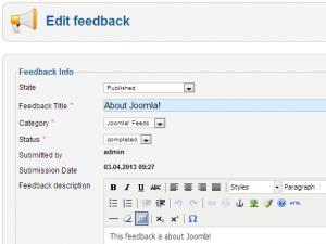 Edit a feedback from the backend area.