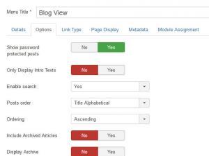 Blog View menu item