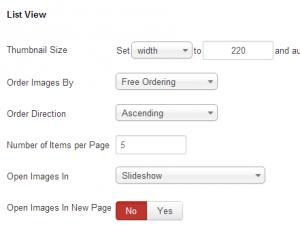 RSMediaGallery! - Gallery menu item options