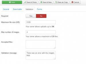 Image upload field - Validation tab