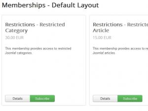 Memberships - default layout