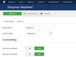 Registered group permissions