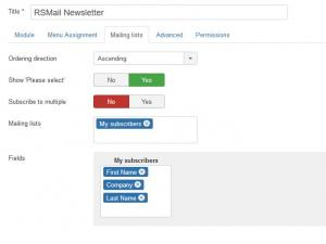 RSMail! Subscribe Module Mailing lists