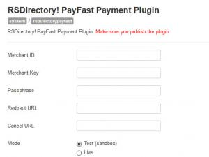 PayFast RSDirectory! configuration