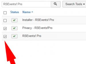 Select RSEvents! Pro and Privacy plugin and click Uninstall