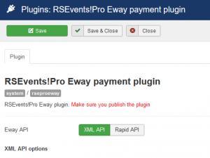 RSEvents!Pro Eway payment plugin configuration
