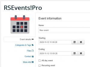 Creating e new event in frontend area