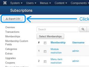 Exporting subscriptions