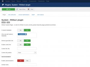 RSSeo! System Plugin - Plugin tab