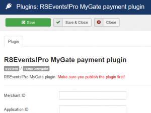 RSEvents!Pro MyGate Payment Plugin configuration