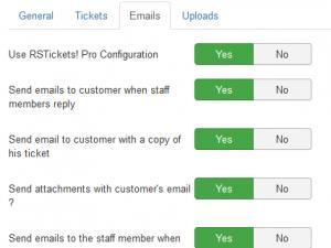 Edit department - emails tab