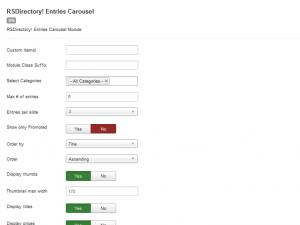 Entries Carousel module Backend Configuration