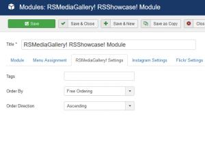 RSShowcase! RSMediaGallery! settings