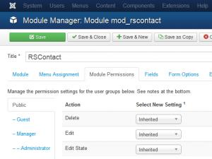 The Module Permissions tab