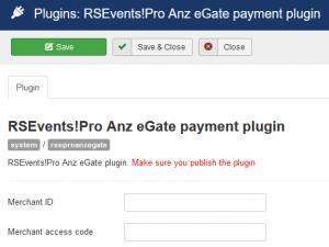 RSEvents!Pro Anz eGate Payment Plugin configuration
