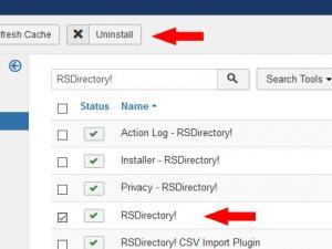 Select RSDirectory! and click Uninstall