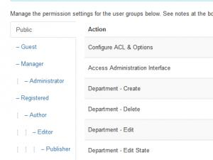 Manage the permission settings for the user groups