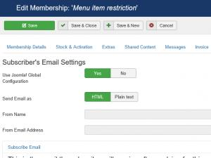 Membership Subscriber's email