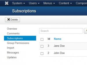 Subscriptions tab