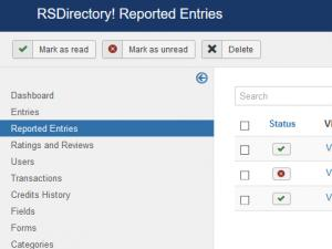 Reported entries listing