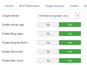 SEO Performance tab