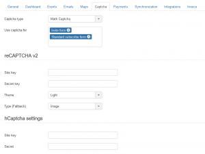Configure captcha method