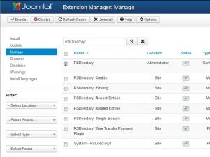 Joomla! manage extensions