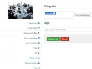 Event Categories and tags tab