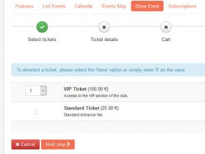 Purchasing tickets using RSEvents!Pro Cart plugin