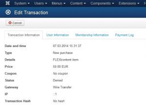 Single Transaction view