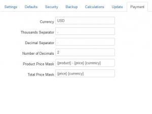 Configuration - Payment