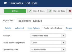 Social Links Options tab